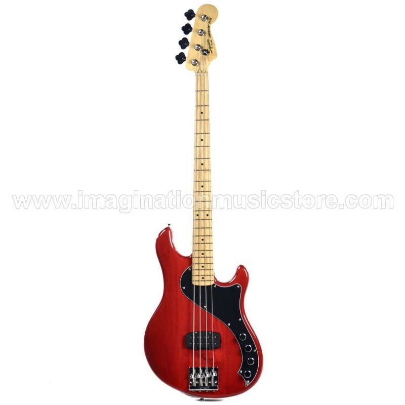 Squier Deluxe Dimension Bass IV MN Crimson Red Transparent