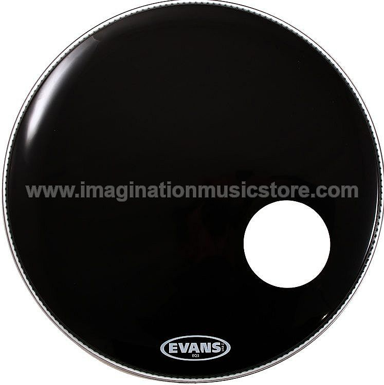 "Evans EQ3 Black Bass Resonant Drumhead - 22"" - With Port BD22RB"