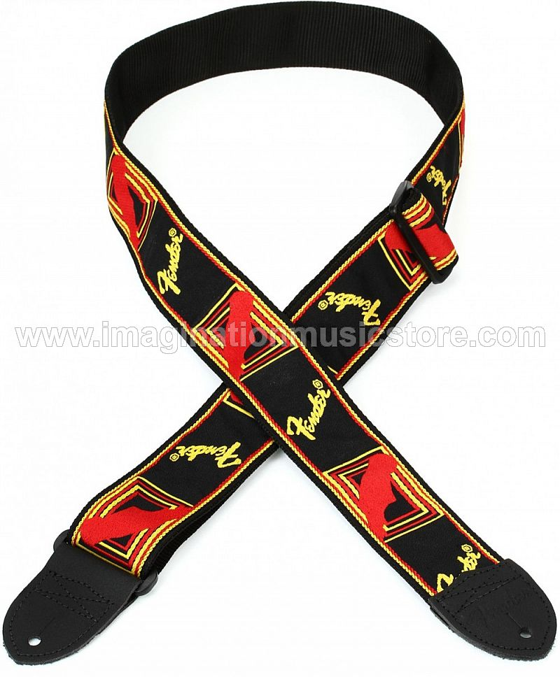 Fender 2 Inch Monogrammed Strap - Black/Yellow/Red